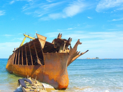 Shipwreck, Beach Near Lake Sijung, North Korea (yeowatzup)  CC BY