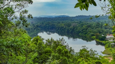 View of the Suriname river from the Blauwe Berg, or Blue Mountain, on the former Berg en Dal plantation (-JvL-)  [flickr.com]  CC BY  Infos zur Lizenz unter 'Bildquellennachweis'